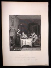 After David Wilkie C1870 Antique Print. The Breakfast